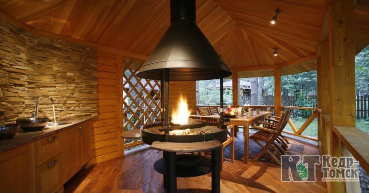 Дизайн баня с летней кухней и